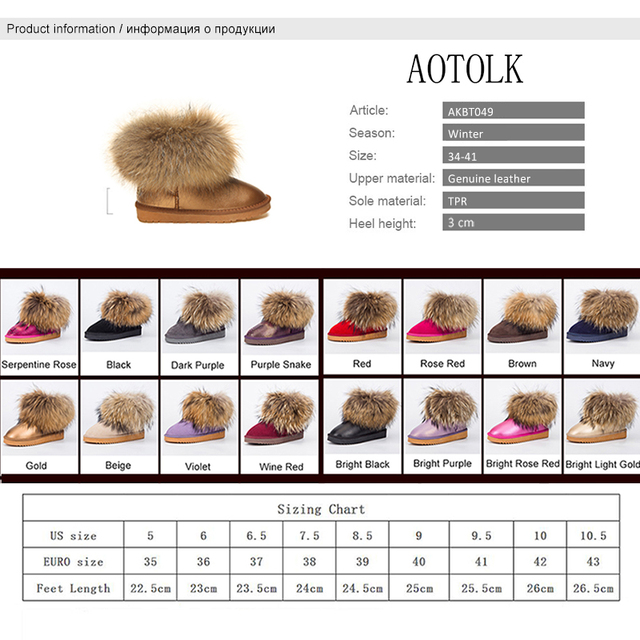 Women Boots Genuine Leather Real Fox Fur Brand Winter Shoes Warm Black Round Toe Casual Plus Size Female Snow Boots New Arrival
