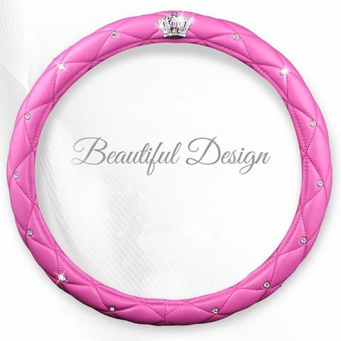 couro artificial da moda preto rosa diamante