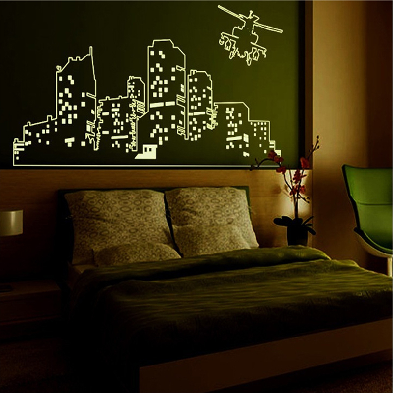large fluorescent luminous vinyl wall stickers city of the large wall stickers set for kids room cutzz