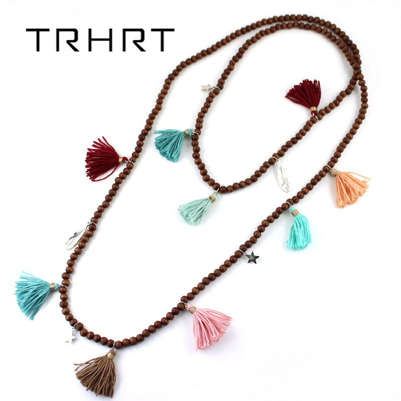 Boho Jewelry Handmade Tassel Long Coffee Wood Beads Necklaces pendants layered Multi-Layer statement Necklaces