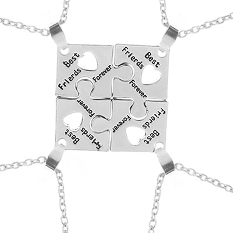 3 Style BFF Necklaces For 4 best friends forever Puzzle charm Necklace women Friendship Necklace Bestfriend Family Jewelry Gift  Ювелирное изделие