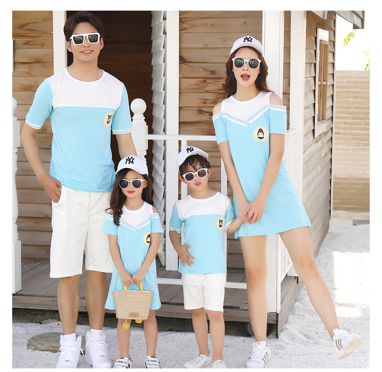 HTB1dn2rcgKG3KVjSZFLq6yMvXXal - Summer Clothes Family Matching Outfits Dad Son Short Sleeve T-Shirt Mother Daughter Dresses Cute Blue White Dress Clothing