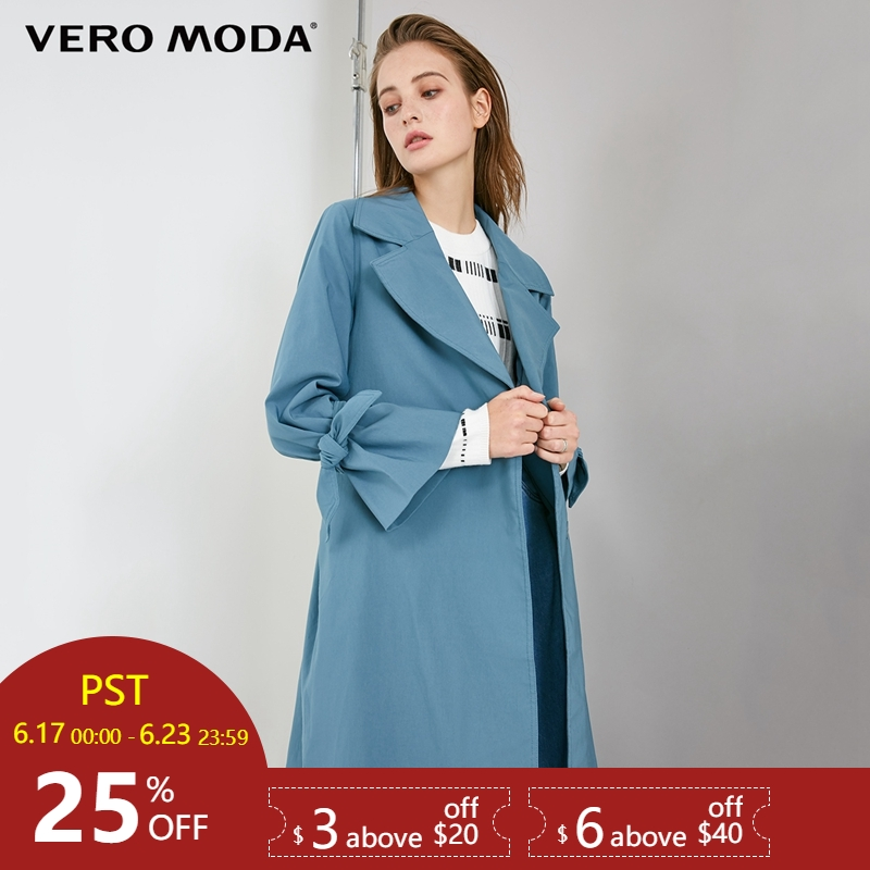 Vero Moda OL Style Concealed Buttons Lace-up Lapel   Trench   Coat|318321519