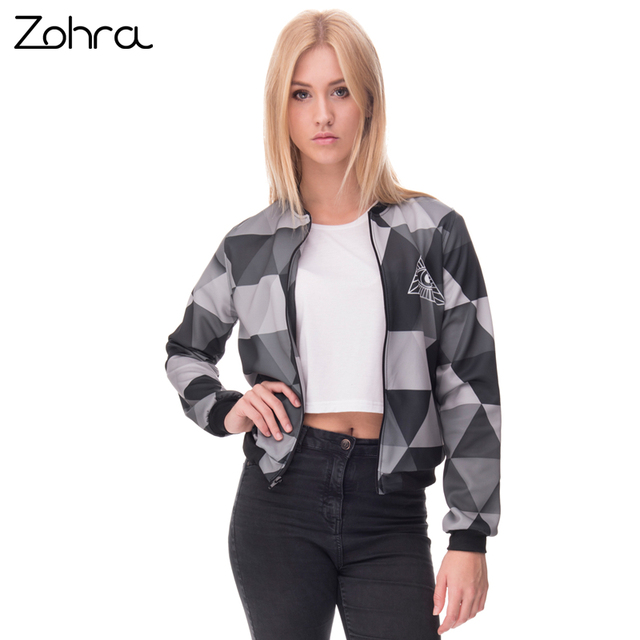 630703b7d Zohra 3D Printed Triangle Womens Bomber Jacket Round neck Full sleeve Short  Paragraph Coats Teenager Outwear Jackets-in Basic Jackets from Women's ...