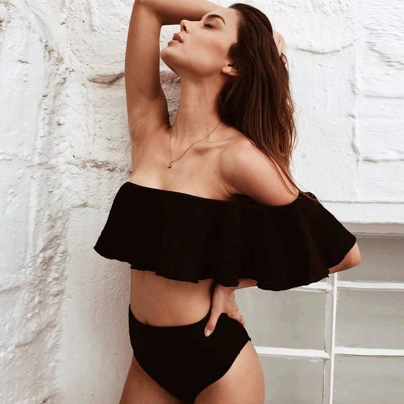 2018 Sexy One Off Shoulder Bikinis Women Swimsuit Print Ruffle Swimwear Bikini Set High  ...