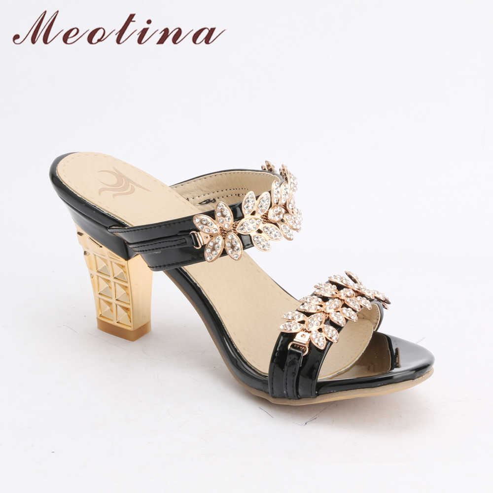 311cf53f7 ... Meotina Bling Ladies Sandals Summer Open Toe Slippers Party Sandals  Chunky High Heels Shoes Women Rhinestone ...