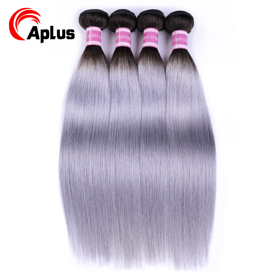 Aplus Hair T1B/Grey Ombre Brazilian Straight Hair Weave Silver Grey Ombre Human Hair Bundles 4pcs Extension Non Remy 10