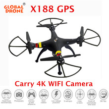 Global Drone X188 GPS Quadrocopter Professional Drone With HD Carmera FPV Drones with WIFI Camera 6-Axis Gyro VS GW180(China)