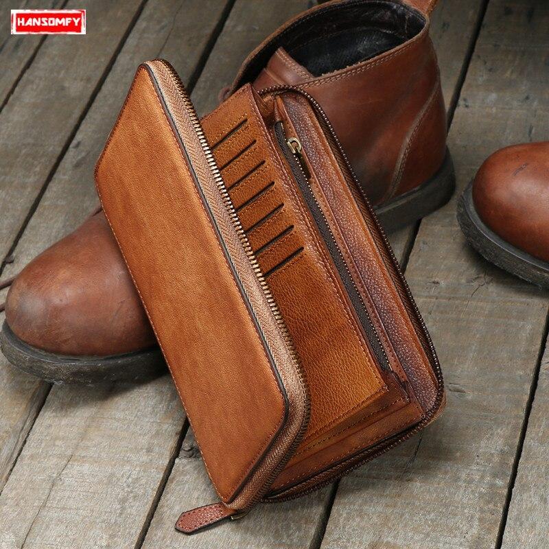 Dos homens de Couro genuíno sacos de embreagem longo zipper carteira retro artesanal juventude Retro masculino multi carteiras de cartão de grande capacidade