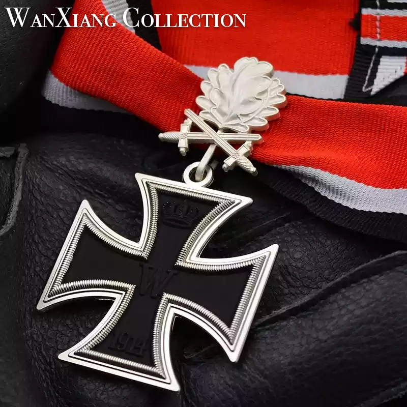 WW2 German iron cross medal badge double knight oak leaves and neck ribbon