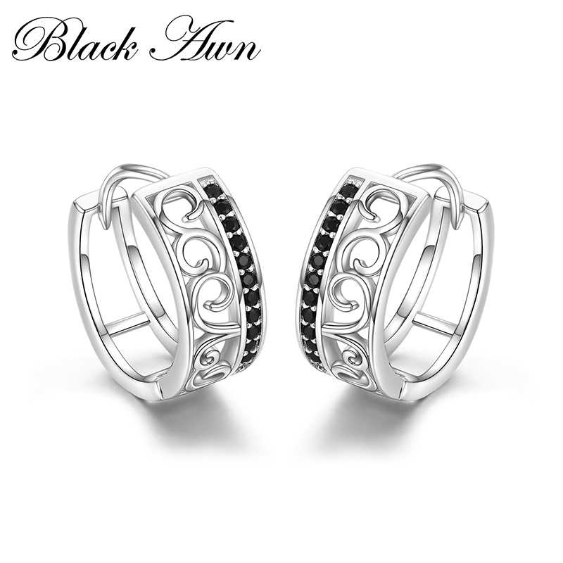 [BLACK AWN] Genuine 925 Sterling Silver Earrings Crown Hoop Earrings for Women Black Spinel Silver 925 Jewelry I030