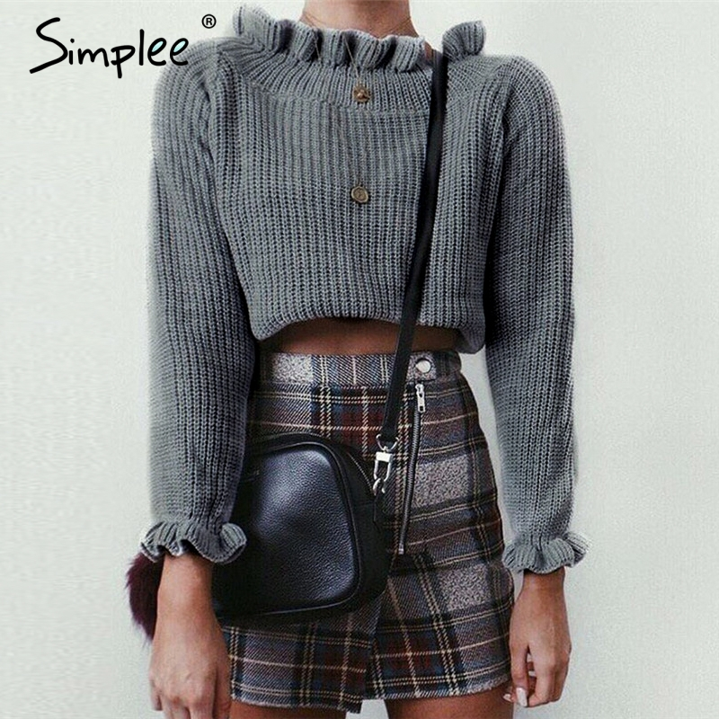 Simplee Ruffle Knitted Sweater S18ST0484