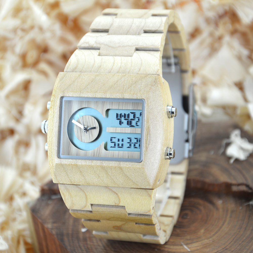 Подробнее о BEWELL Natural Wood Watch Men Quartz Watches Dual Time Zone Wooden Wristwatch Rectangle Dial Relogio LED Digital Watch Box 021A 2016 hot sell men dress watch uwood men s wooden wristwatch quartz wood watch men natural wood watches for men women best gifts