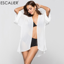 BERRY BOOM Hot Sale Womens Solid Summer Chiffon Sheer Kimono Cardigan Blouses Brand Women Plus Size Tops