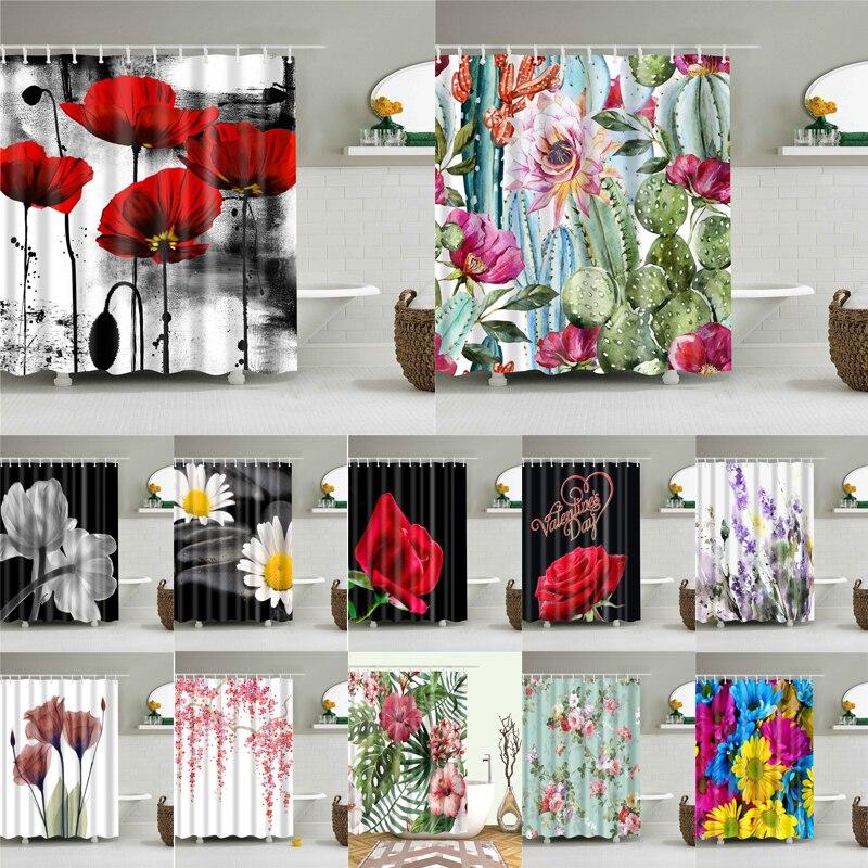 Wasserdicht Bad Dusche Vorhänge 3d Blumen Druck Custain für Bad Hohe Qualität Polyester Bad Bildschirm Dekoration
