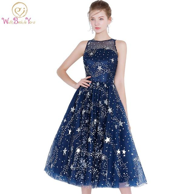Walk Beside You Navy Blue Cocktail Dress Sequined Tea Length Bling Star Cocktail  Dresses Summer for Party Occasion Tea Length 169af7a88c88