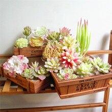 Белые флокированные Искусственные суккуленты растения Цветочная композиция аксессуары для рабочего стола домашний сад бонсай украшения искусственные растения