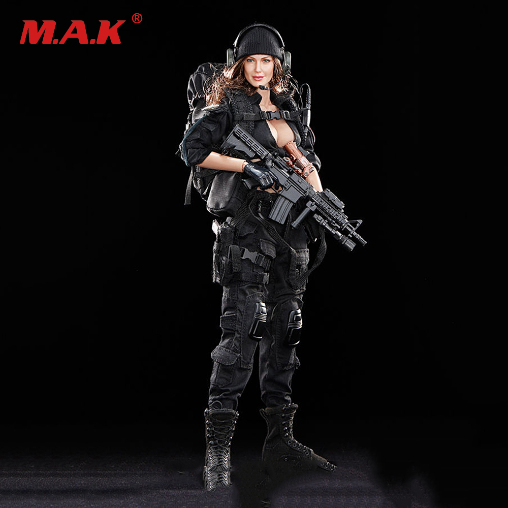 Kid Hobby Gifts 1/6 Scale Full Female Set Action Figure Black Woman Shooter Figure Black Version Toys For Collections hot game anime insane black rock shooter 1 8 scale huge 40cm action figure