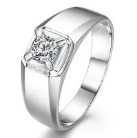 Simple 0 4 Carat NSCD Synthetic Diamond Ring 925 Sterling Silver Ring For Men Wedding Ring