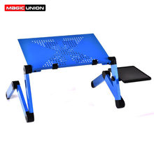 Magic Union Adjustable Laptop Desk Folding Notebook Desktop Stand With Cooling Fan Laptop Bed Table Bed Tray Study Desk(China)