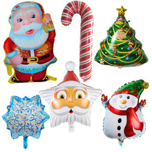 цена на Hot Sale 6pcs Santa Claus, snowman, snowflakes, Christmas tree, Christmas crutches balloons, decorate the toy, Christmas