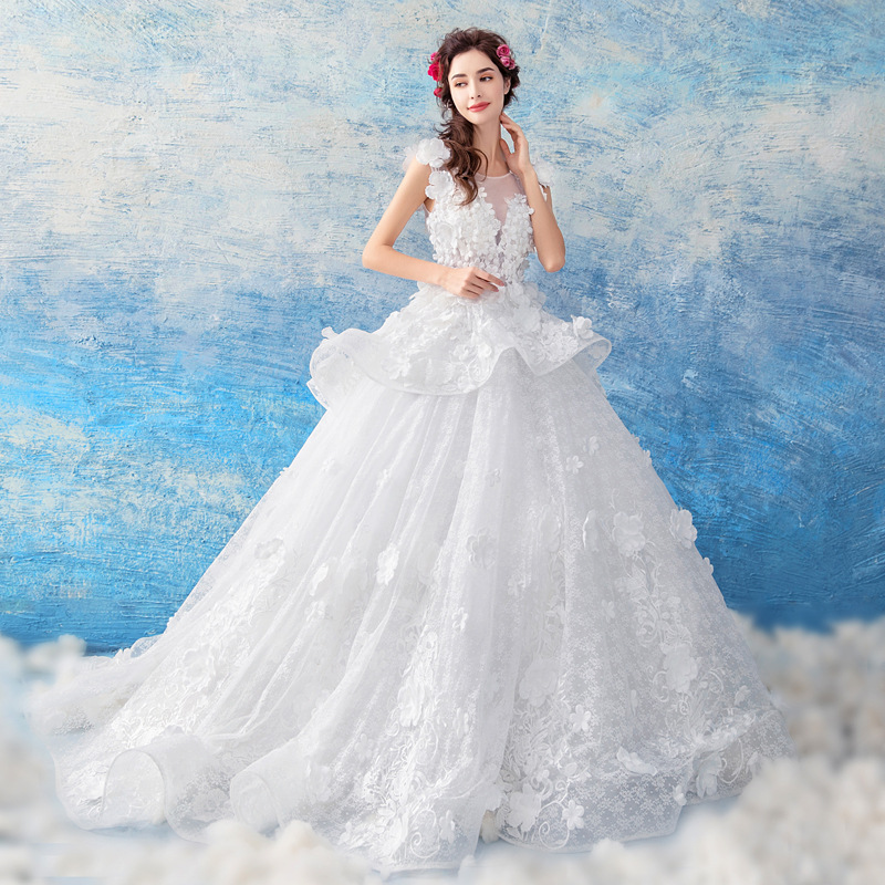 Kseniya Queen White Lace Appliques Ball Gown Wedding Dresses Off The Shoulder Short Sleeves Bridal Dresses Wedding Gowns Dress
