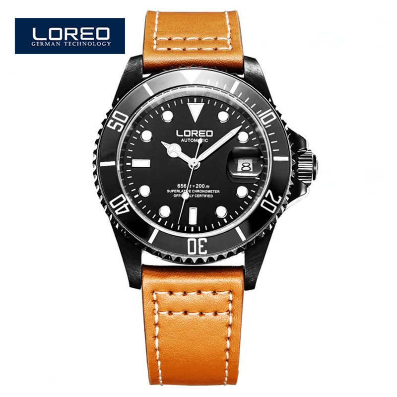 LOREO Watches Automatic Mechanical Army Waterproof Sports Mens Watch Leather Fashion Casual Luxury Brand  Relojes Deportivos A01