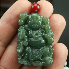 Natural Hand-carved Chinese Hetian Jade Pendant - Green Jade Carved Buddha Lucky Amulet Pendants Necklace недорого