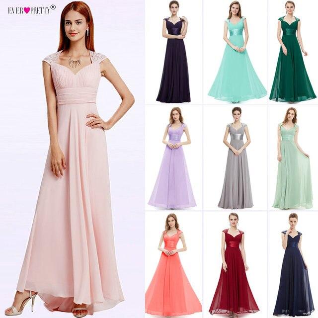 527f76fab126 Bridesmaid Dresses V-neck Sequins Chiffon Empire 2018 Ever Pretty EP09672  Mint Green Coral Burgundy Long Wedding Guest Dresses