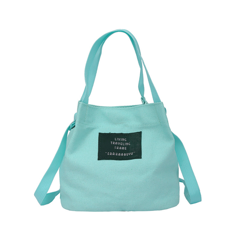 Bucket Bag Shoulder Bag Casual Canvas Preppy Style Crossbody Bag Blue Handbag Lady
