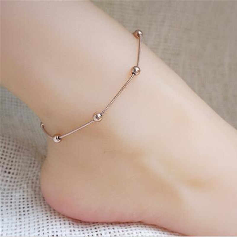 Punk Stainless Steel Beads Snake Chain Anklet Bracelet On The Leg For Women Beach Ankle Bracelet Foot Chain Jewelry