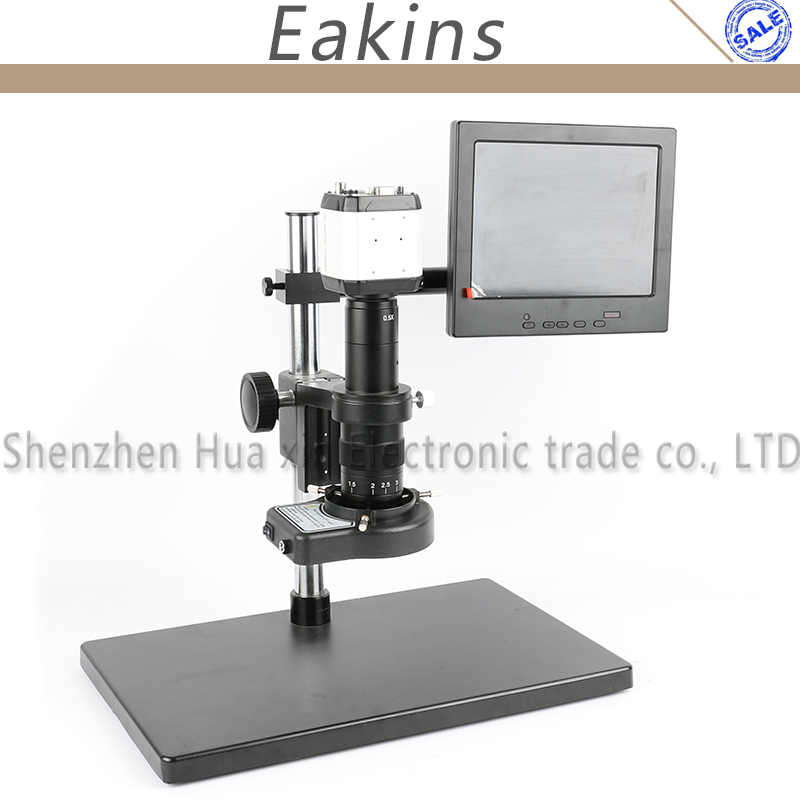 2.0MP 720P HD Industry Video Microscope Camera VGA USB AV TV + 180X/300X C-Mount Lens+Stand Holder+144 LED Light+8-inch screen