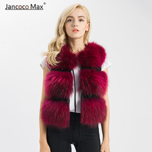 Natural Real Raccoon Fur Vest Women Winter Thick Warm Gilet High Quality Coat S1150
