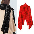 2016 New Fashion Women Winter Casual Soft Plaid Long Wrap Shawl Tartan Knit Wool Scarf Female Warm black/red