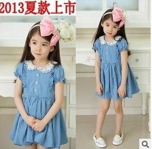 Lace collar denim blue baby clothes girls dress cotton baby dress