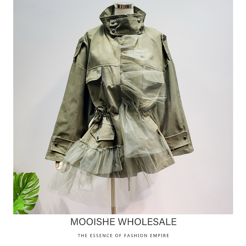 2019 New Loose High Neck Slim   Trench   Coat Army Green Khaki Mesh Stitching Solid Color Thin Autumn Coat