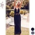BellyAnna 2016 Nuevos Atractivos Del Verano Mujeres de la Correa de Espagueti Sin Espalda Vestido Con Cuello En V Partido Highwaist Beachwear Ahueca Hacia Fuera Vestidos Maxi