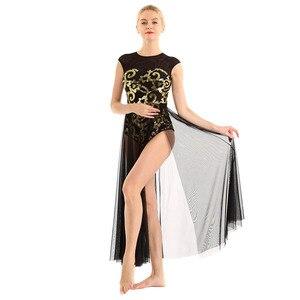 Image 5 - Phụ Nữ Trữ Tình Đầm Vũ Trang Phục Áo Hoa Kim Sa Lấp Lánh Xe Tăng Leotard Đầm Maxi Cho Trữ Tình Hiện Đại Múa Đương Đại Đầm