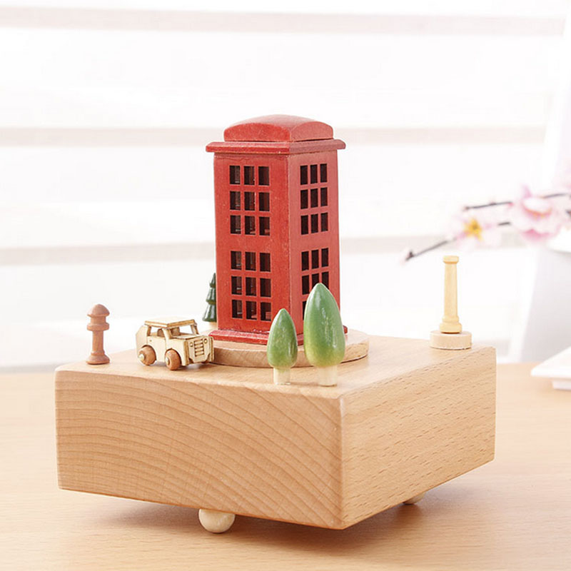 1 Piece Solid Wood Retro Phone Booth Music Ofbox Classic Toy For Children Wind Up Toy Clockwork Handmade Creative Birthday Gifts