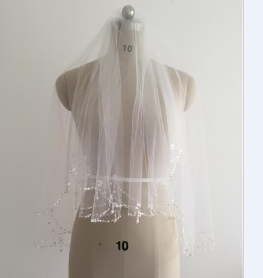 Beaded Edge Short Wedding Bridal Veil White Ivory