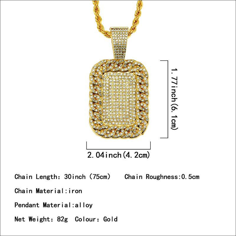 Golden hip hop necklace inlaid zircon military brand tide male domineering pendant street pendant Support a generation in Pendant Necklaces from Jewelry Accessories