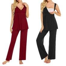 Пижамный комплект для кормящих женщин; Летняя женская одежда для грудного вскармливания; топ с v-образным вырезом и штаны; одежда для сна; Повседневная Футболка для беременных; Одежда для беременных; 19May29