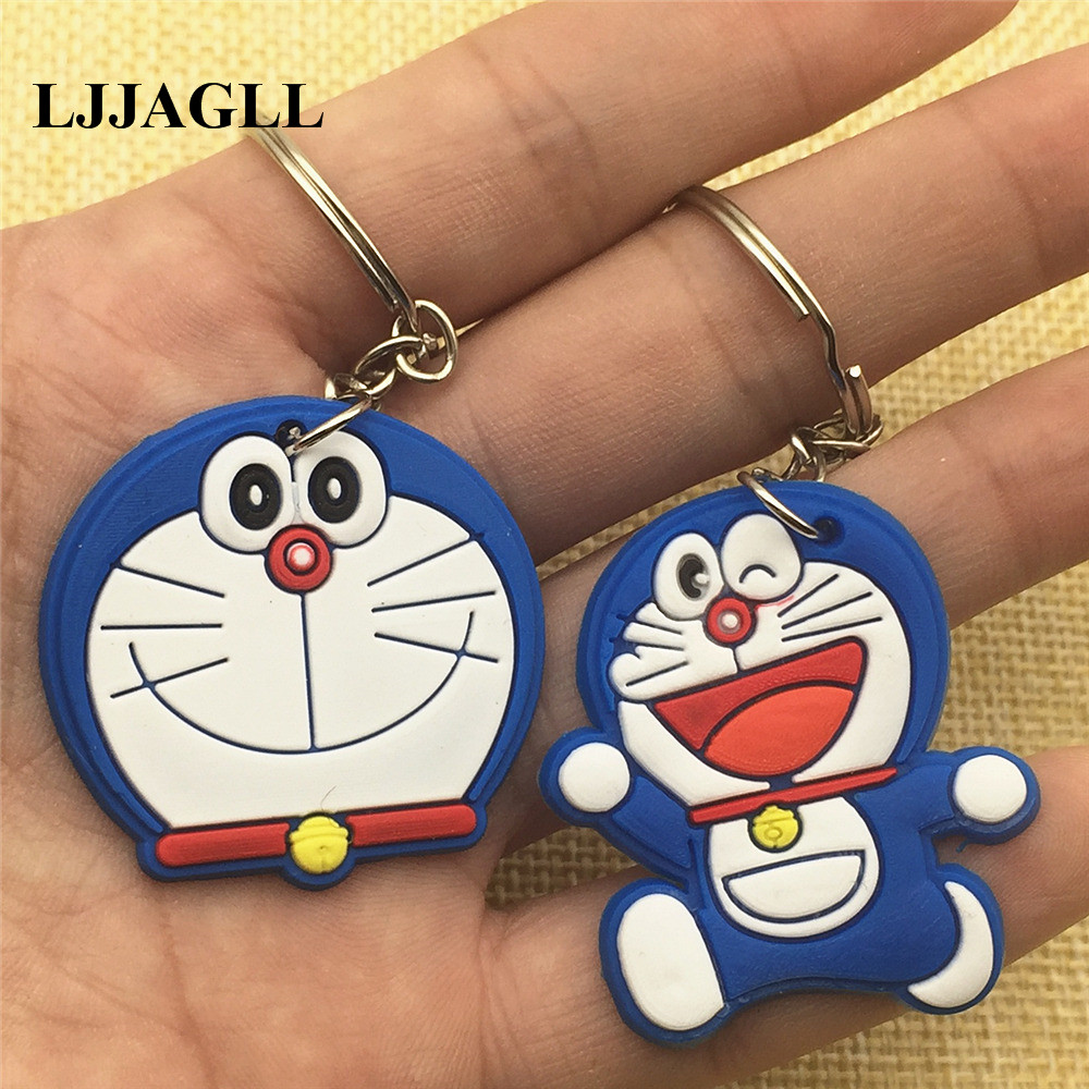 Mixed Anime Figure Doraemon Key Chain 10pcs kawaii Cat PVC Cartoon Ring Kids Loves Toy Pendant Holder Gift Trinket ACT015