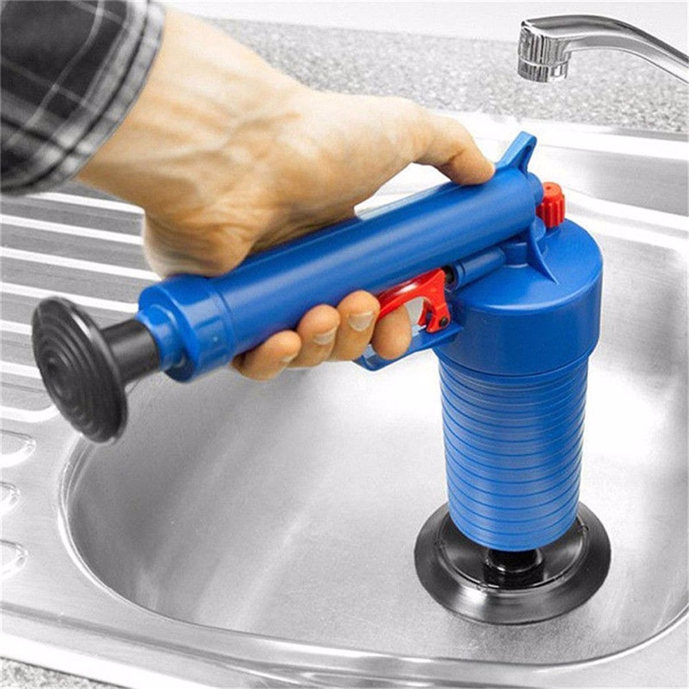 Image 3 - Air Drain Blaster High Pressure Pump Cleaner Unclogs Toilet Sewer Cleaning Brush Kitchen Bathroom Powered Plunger Remover Tool-in Drain Cleaners from Home & Garden