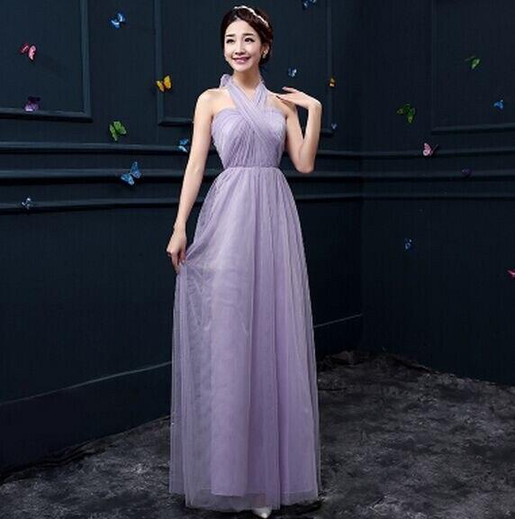 Новое пыльное розовое платье подружки невесты длинное платье с открытыми плечами из тюля милое ТРАПЕЦИЕВИДНОЕ гофрированное платье для свадьбы выпускного вечера платья под$50 - Цвет: lavender