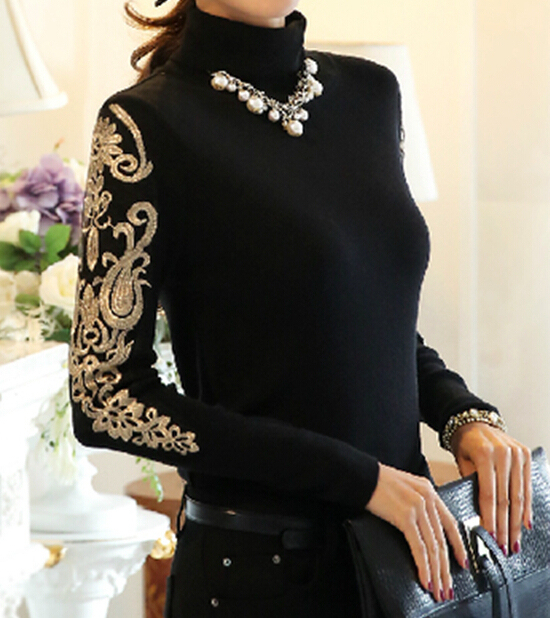 Бесплатная доставка высокое качество Большой размер S-XXXXL элегантный горячая распродажа высокий воротник вышивка женщина утолщаются вязание хлопок блузка