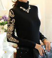 Free Shipping High Quality Plus Size S-XXXXL Elegant Hot Sale High Collar Embroidery Woman Thicken Knitting Cotton Blouse