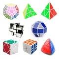 8 pçs/set Shengshou Branco Estranho-forma Conjunto Cubo Mágico Velocidade Torção Enigma Bundle Pack Cube PVC & Fosco Adesivos Enigma do Cubo Mágico