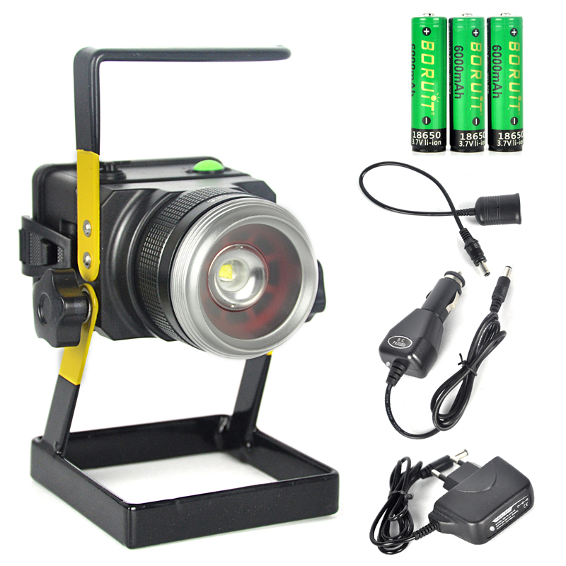 LED Work Light Rechargeable CreeXM-L T6 Waterproof 3Modes Rechargeable LED Floodlight Spotlight Fishing Lamp For Camping Fishing
