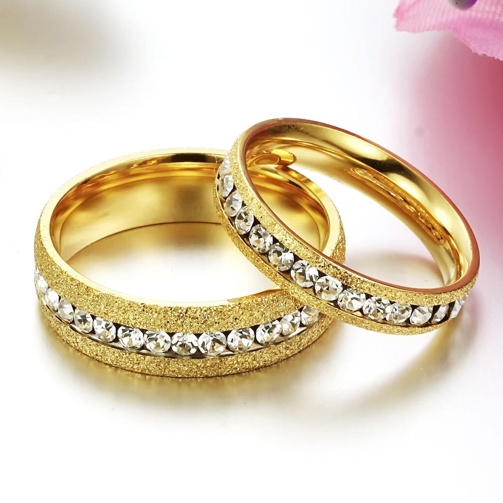 Fate Love Shinning Couple Jewelry Gold Color Finger Rings One Row Dazzle Cubic Zirconia Ring Woman Man Wedding Engagement FL362 In From